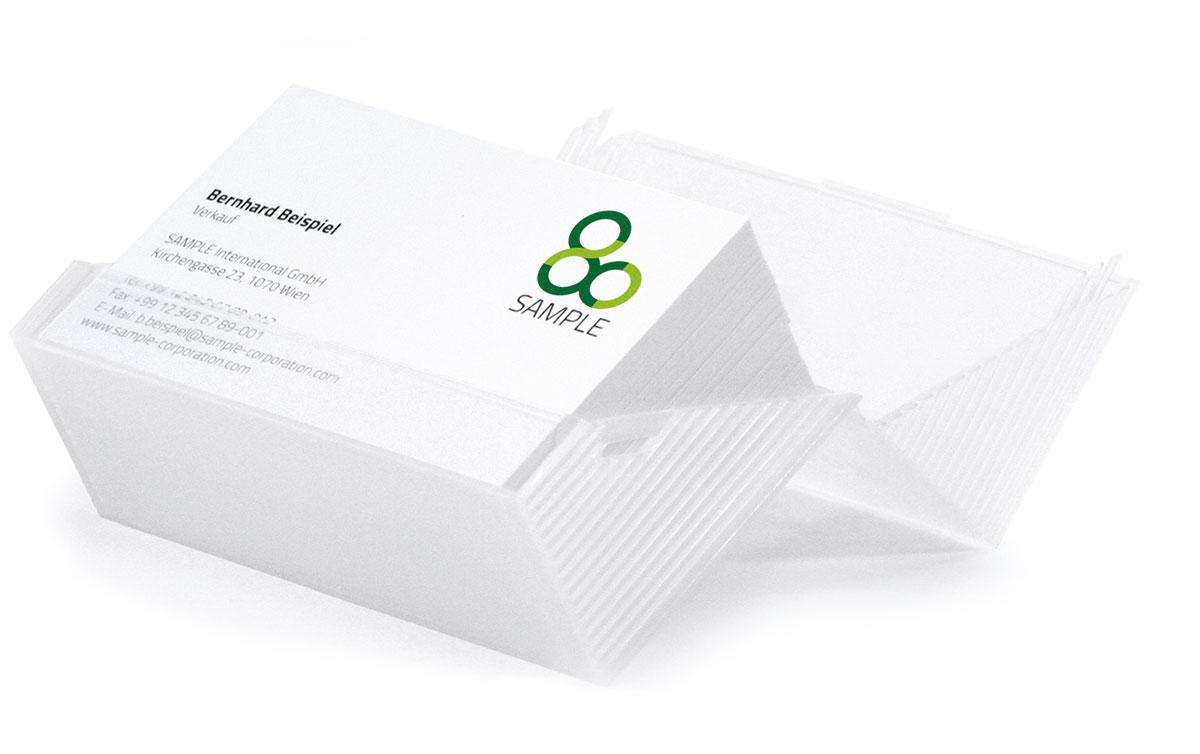 Im Gratistest inkludiert: 100 Visitenkarten im Corporate Design Ihres Unternehmens
