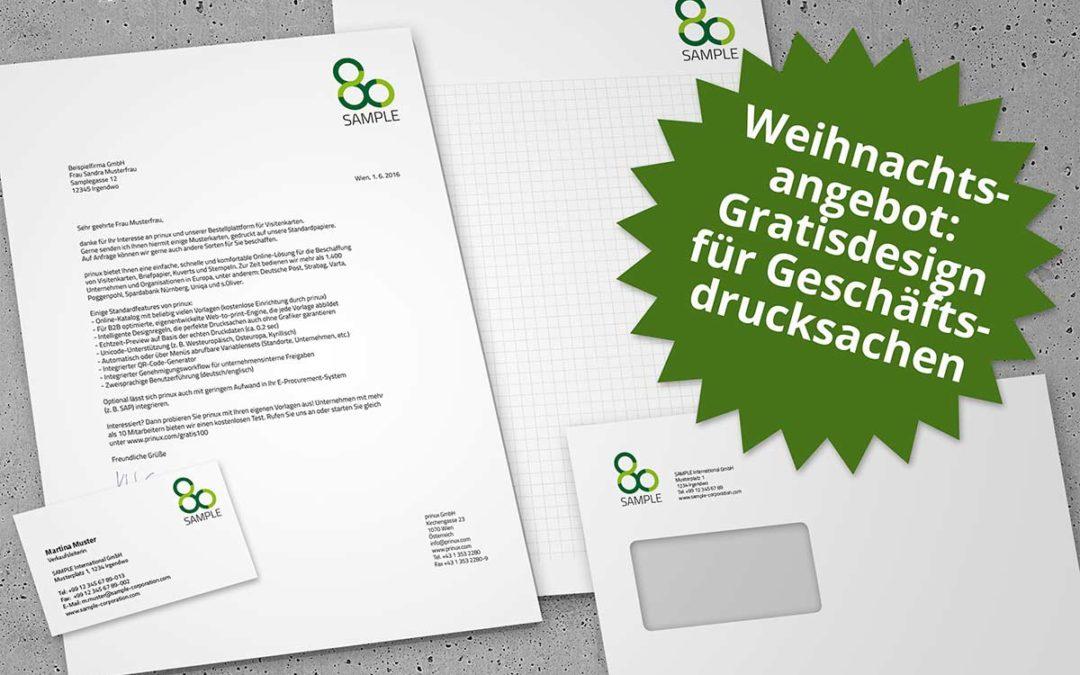 Weihnachtsgeschenk für Ihr Unternehmen: Kostenloses Design für Visitenkarte, Briefpapier, Kuvert und Notizblock