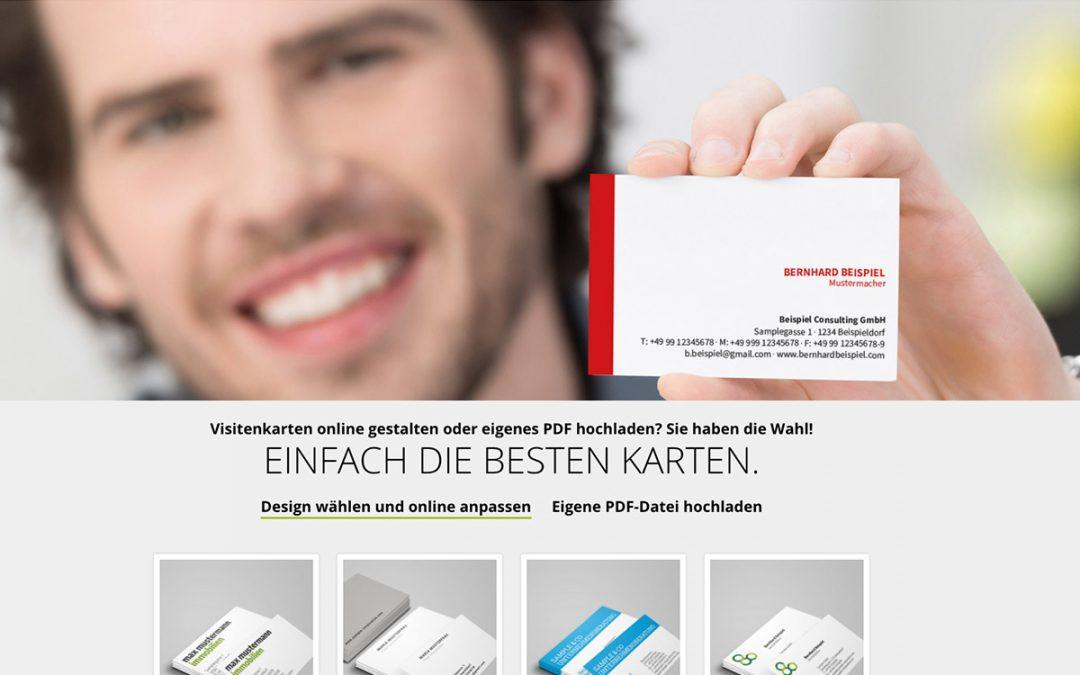 Neu: PDF-Upload und fertige Designs für Visitenkarten