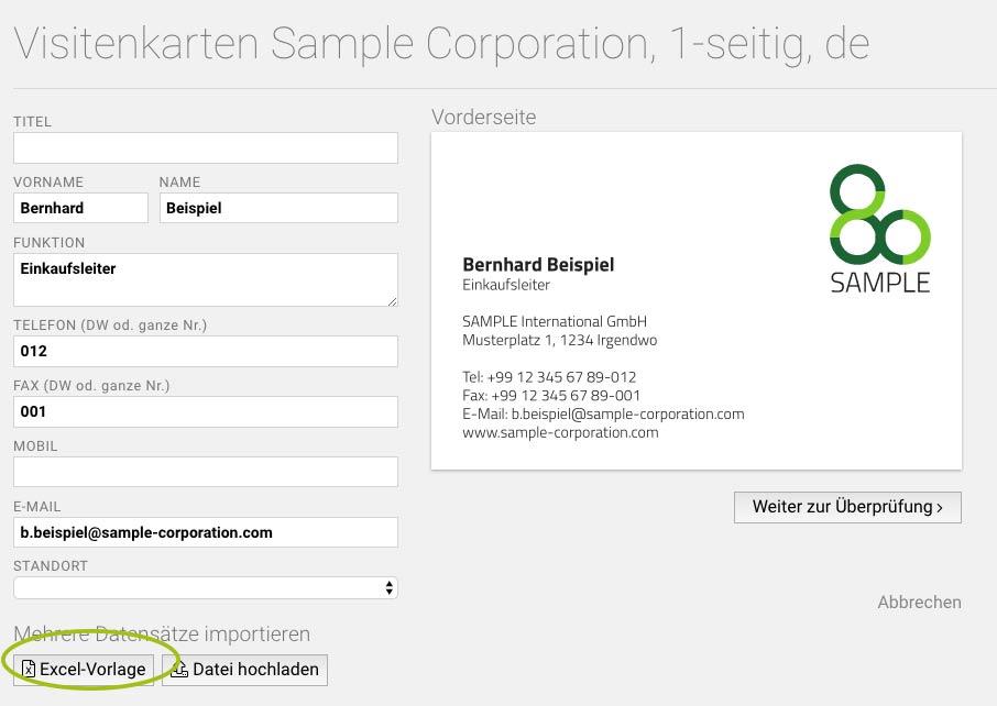 Neu Excel Upload Für Großbestellungen Von Visitenkarten