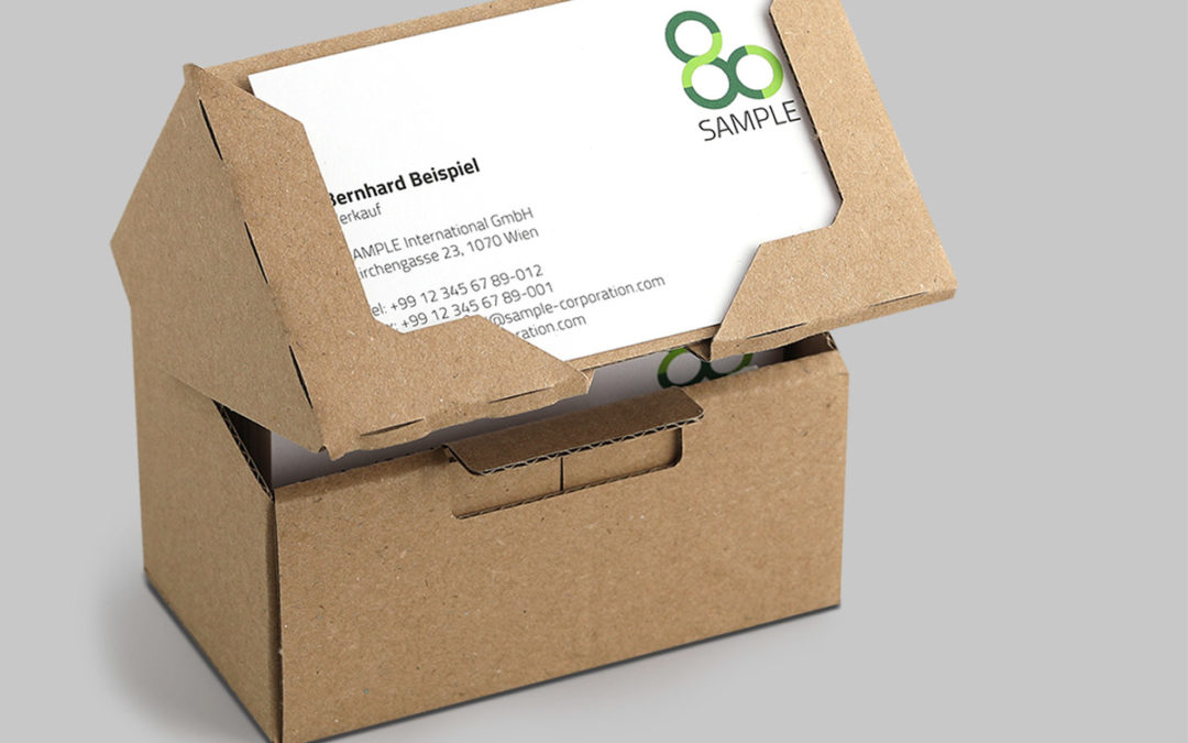 Neu: Visitenkartenbox aus 100% Recycling-Wellpappe