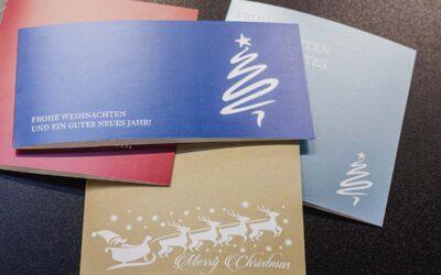 Weihnachtskarten für Ihr Unternehmen: Besonders edel mit Metallic-Farben